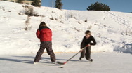 Stock Video Footage of Four young kids play hockey on backyard ice rink