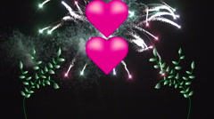 Fireworks explode behind high res pink hearts 5 Stock Footage
