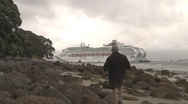 Stock Video Footage of man watchs cruise ship