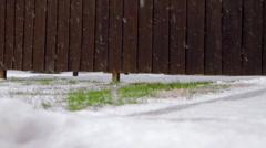 Snowy Wooden fence Bilboard Stock Footage