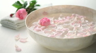Stock Video Footage of bowl full of rose petals