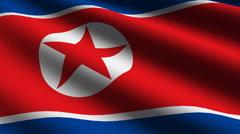 North Korea flag close up Stock Footage
