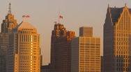 Stock Video Footage of sunrise, Detroit skyline tight shot