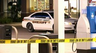 Armed robbery crime scene Stock Footage