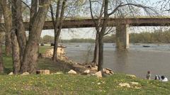 Bridge on Illinois river in spring Stock Footage