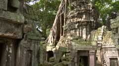 Ancient Temple in Angkor Wat Arean - stock footage