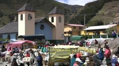 Ecuador market and church - stock footage