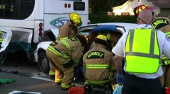 Car vs Bus Extrication #2 Stock Footage
