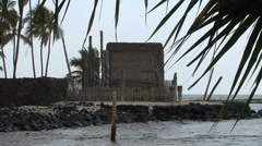 Hawaii Place of Refuge ceremonial hut Stock Footage