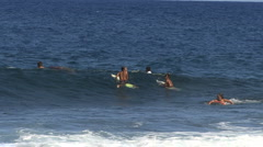Hawaii Surfers wait for waves 2 Stock Footage