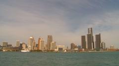Detroit skyline, #2 mid day Stock Footage