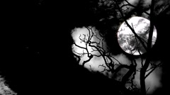 Timelapse clouds flowing past a bare tree at full moon 2 Stock Footage
