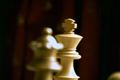 CheckMate figure Queen & King Rack focus Stock Footage