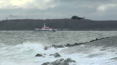 Sea Rescue and Helicopter on Baltic Sea 1 Stock Footage