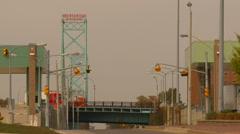 Trucking, Ambassador bridge and trucks head on sign Stock Footage
