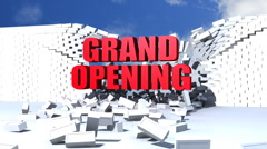 Grand Opening text crashing through bricks - stock footage