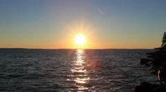 Sun Setting Over Ocean in Maine - stock footage