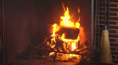 Wood burning fire in fireplace Stock Footage
