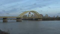 Cincinnati and Ohio river in evening Stock Footage