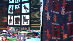 Ecuador weavings in Otovalo market  Stock Footage