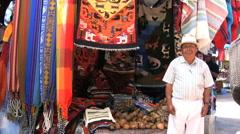 Ecuador Man in the Otovalo market  Stock Footage