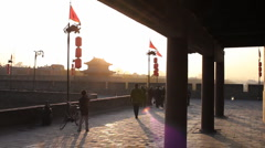 Xian City Wall while sunset  - stock footage