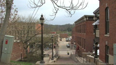 Illinois Galena lamp posts downhill and red buildings Stock Footage