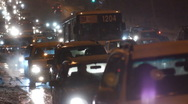 Night traffic. Cars. First snow.2 Stock Footage