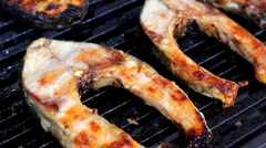 Carp on the grill Stock Footage