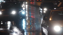 Night traffic. Cars. First snow.18 Stock Footage