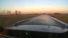 Railroad, through the dirty window dome car sunset east Stock Footage