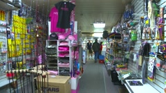 Interior small town general store hand-held 2 shot Stock Footage