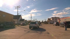 Small northern Ontario town, pan Hornpayne Ont Stock Footage
