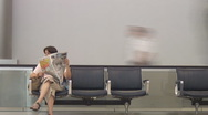 Airport people watcher time lapse Stock Footage