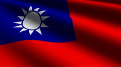 Taiwan flag close-up Stock Footage