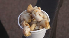 Small container of cooked whelks being eaten Stock Footage