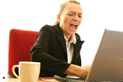 Frustrated businesswoman with laptop, slow motion  Stock Footage