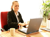 Stock Video Footage of Frustrated businesswoman with laptop, slow motion