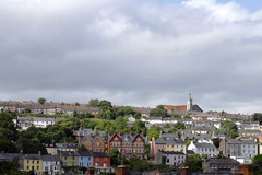 Houses on a hill in Cork city, Ireland Stock Footage