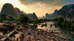 Hot air ballooning and rafting - Yangshuo, time lapse - stock footage
