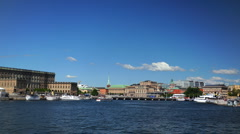 Stockholm Skyline Timelapse Strommen bay, Royal Swedish Opera, Palace, Sweden Stock Footage