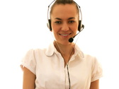 Stock Video Footage of Call center woman with headset showing ok sign