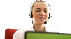 Stock Video Footage of Smiling call center woman with headset