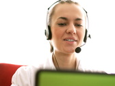 Smiling call center woman with headset  Stock Footage