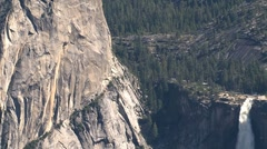 Yosemite National Park waterfall zoom-out Stock Footage