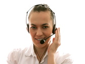 Attractive female helpdesk consultant smiling to camera Stock Footage