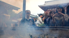 Holy Smoke at Senso-ji Temple in Tokyo Stock Footage