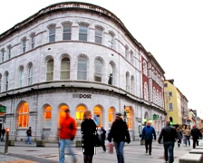 Cork city time lapse with anonymous crown in front of Post office Stock Footage