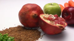 Fruit vegetables bread Stock Footage