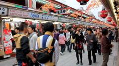 Nakamise Market in Asakusa - Tokyo, Japan Stock Footage